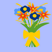 Bunch of Flowers with a Golden Ribbon