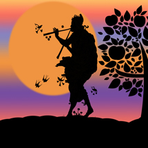 Silhouette of a Piper in the Sunset, Digital Art